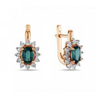 Золотые серьги с бриллиантами и изумрудами гт ЛФЕ01-Д-34115-ЕС