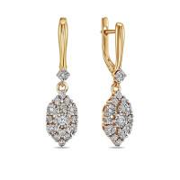 Золотые серьги подвесные с бриллиантами ЛФЕ01-Д-ПЛ-33769к