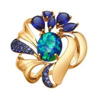 Золотое кольцо с аметистами и фианитами ДИ714734