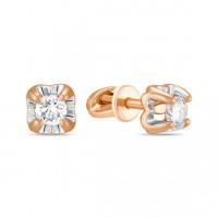 Золотые серьги гвоздики с бриллиантами ЛФЕ01-Д-СОЛ28-020-Г2