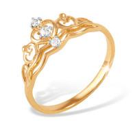 Золотое кольцо с фианитами ЮПК1321454