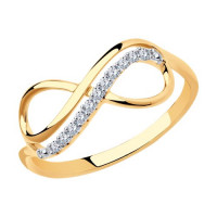 Золотое кольцо с фианитами ДИ016622