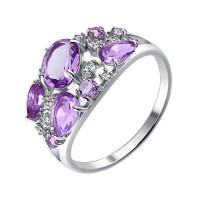 Серебряное кольцо с аметистами и фианитами ДИ92010221