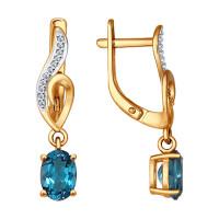 Золотые серьги подвесные с топазами и фианитами ДИ723989