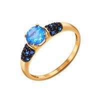 Золотое кольцо с топазами и шпинелью ДИ77010021