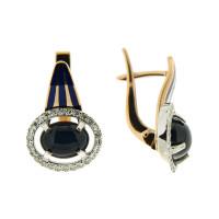 Золотые серьги с сапфирами звездчатыми, бриллиантами и эмалью 9К12-0808