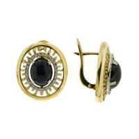 Золотые серьги с сапфирами и бриллиантами 9К12-2574