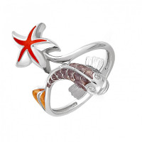 Серебряное кольцо с эмалью и фианитами 9К11-117-8101С
