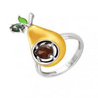 Серебряное кольцо с фианитами и эмалью 9К11-120С