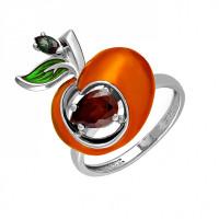 Серебряное кольцо с фианитами и эмалью 9К11-121С