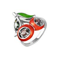 Серебряное кольцо с фианитами и эмалью 9К11-124С