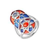 Серебряное кольцо с эмалью, ониксами и сваровски