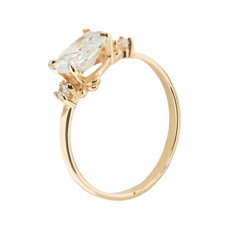 Золотое кольцо с фианитами 5Э10-02-00086