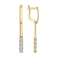 Золотые серьги подвесные с Swarovski ДИ81020277