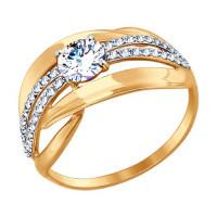 Золотое кольцо с фианитами ДИ017425