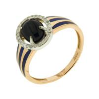 Золотое кольцо с сапфирами звездчатыми, бриллиантами и эмалью 9К11-0808