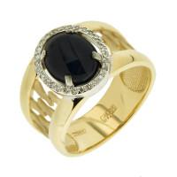 Золотое кольцо с сапфиром и бриллиантами 9К11-2574