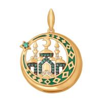 Золотая мечеть с фианитами и эмалью подвеска для мусульман