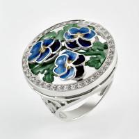 Серебряное кольцо с фианитами и эмалью 9К1-006С