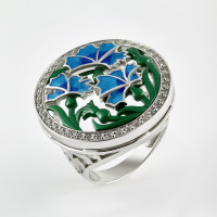 Серебряное кольцо с фианитами и эмалью 9К1-009С