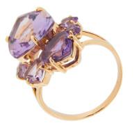 Золотое кольцо с топазами, хризолитами и аметистами ГС1343829