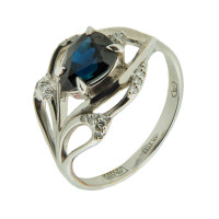 Золотое кольцо с бриллиантами и сапфиром АО11409-202