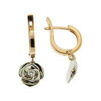 Золотые серьги подвесные с бриллиантами 9К12-0799
