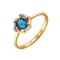 Золотое кольцо с топазами и фианитами ДИ714079