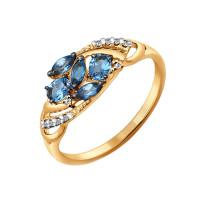 Золотое кольцо с топазами и фианитами ДИ714241