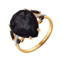 Золотое кольцо с агатами, шпинелью и фианитами