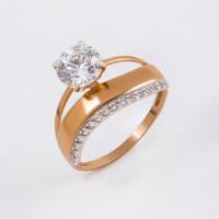 Золотое кольцо с Swarovski и фианитами