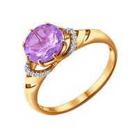 Золотое кольцо с аметистами и фианитами ДИ714014