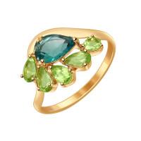 Золотое кольцо с кварцем и хризолитами ДИ714556