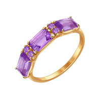 Золотое кольцо с аметистами и фианитами ДИ714559