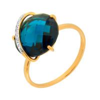 Золотое кольцо с кварцем и фианитами НЮ102020191448квл
