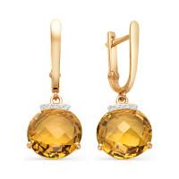 Золотые серьги подвесные с кварцем и фианитами НЮ102020291451квтс