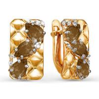 Золотые серьги с раухтопазами и фианитами