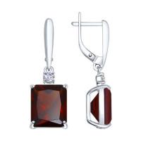 Серебряные серьги подвесные с ситалом и фианитами