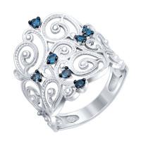 Серебряное кольцо с топазами ДИ92011340