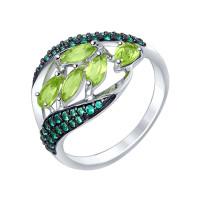 Серебряное кольцо с хризолитами и фианитами ДИ92011364