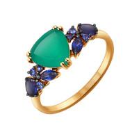 Золотое кольцо с хризопразами и сапфирами ДИ714192