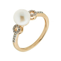 Золотое кольцо с жемчугом и фианитами ЮЦК046