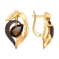Золотые серьги с топазами и фианитами