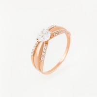 Золотое кольцо с фианитами и Swarovski