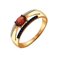 Золотое кольцо с гранатами и фианитами ДИ714050