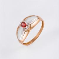 Золотое кольцо с гранатами и фианитами ЮПК1347514гр
