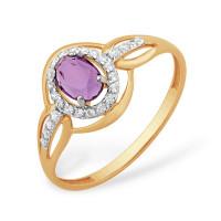 Золотое кольцо с гранатами и фианитами ЮПК1347696гр