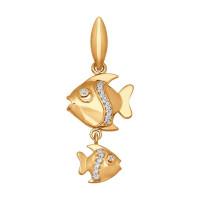 Золотой знак зодиака «рыбы» ДИ034725