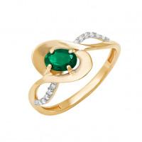 Золотое кольцо с бриллиантами и изумрудом ДПБР310085