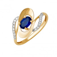 Золотое кольцо с сапфиром и бриллиантами ДПБР210077